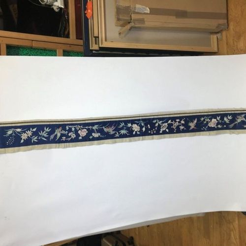 Headband, China, Qing dynasty, circa 1900, blue satin, embroidered polychrome si…