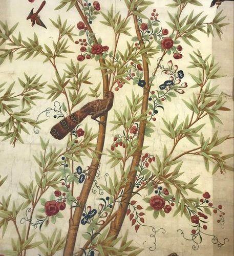 Painted silk thong, China, circa 1800, cream background, decoration of bamboos, …