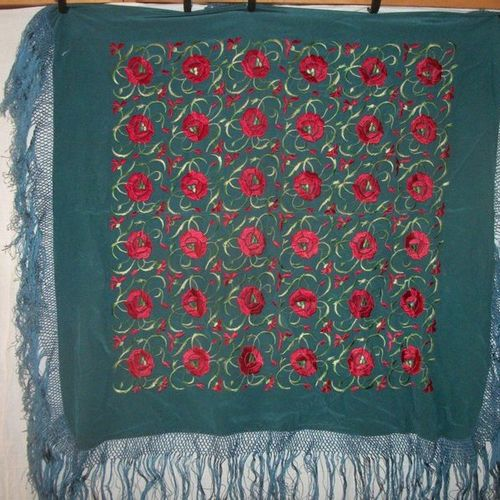 """Manila"""" shawl, China, circa 1900, Prussian blue twill embroidered with red and g…"""