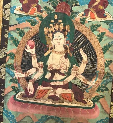 Thangka, Tibet, painted canvas of a deity from the Buddhist pantheon, probably G…