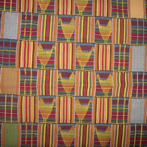 Nineteen band Kente, Ghana, Ewe weave, blue, green and red stripes, yellow woven…