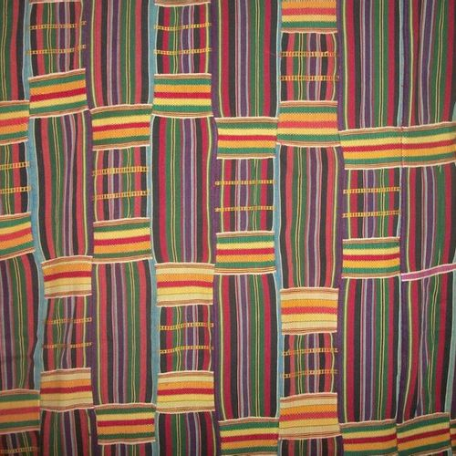 Striped kente, Ghana, Ewe weaving, blue, red, green, yellow, purple and black st…