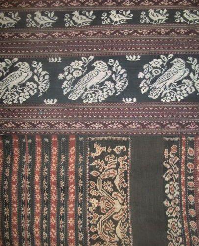 Three sarong in ikat Tsumba, Indonesia, Sunda Islands, flowers birds, animals, d…