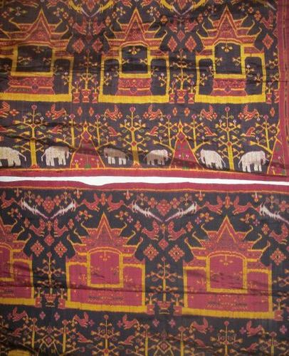 Two silk Ikat, Indonesia, Sunda Islands, black background, decorated with a frie…