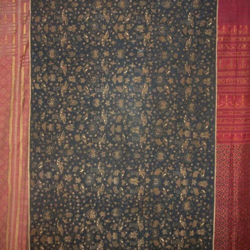 Meeting of three ikat, Indonesia, red background with geometric pattern and blue…