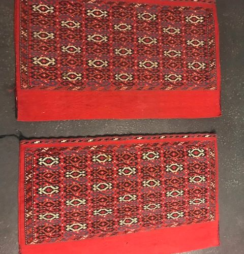 Pair of Chouval (Turkmen) late 19th century, saddle cloth.  Collector's item.  K…