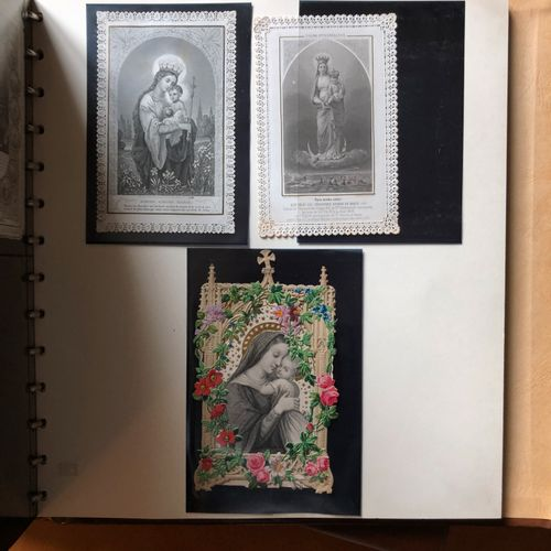 3 Albums of ancient and modern canvases, chromos, pious pictures....
