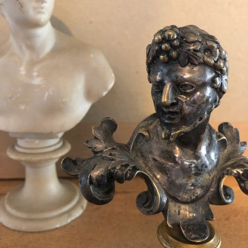 Bacchus, silver plated bronze bust on pedestal  A second sculpture representing …