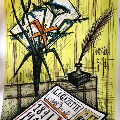 Bernard BUFFET (1928 1999)  The Drouot Gazette  Lithograph signed in the plate