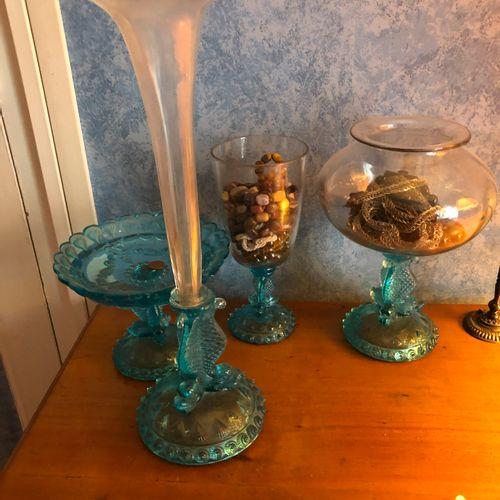 Meeting of blue glassware
