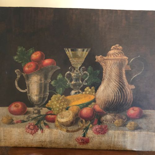 French school of the 19th century  Still life with fruits and a carafe  oil on c…