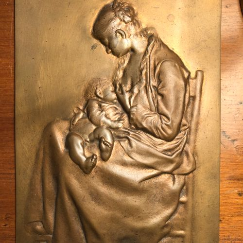 French work signed CHAR  Maternity  Embossed metal plate, 23x15cm