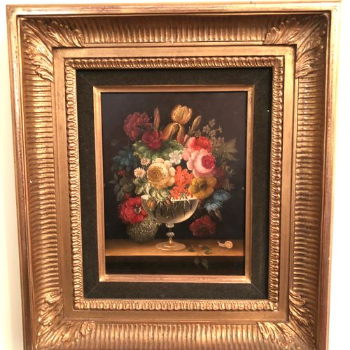 Modern work  Bouquet of flowers on an entablature  2 oil on panel forming a pend…