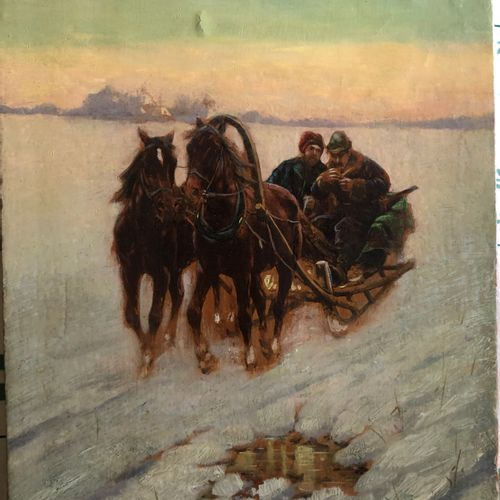 Zygmunt AJDUKIEWICZ (1861 1917) attributed to  Going Hunting  Oil on panel signe…