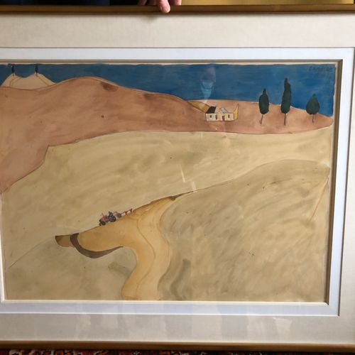 Henri LANDIER (Born in 1935)  The isolated farm  Watercolour on paper, signed an…