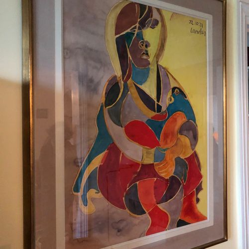 Henri LANDIER (Born in 1935)  Portrait of a woman  Watercolour, signed and dated…