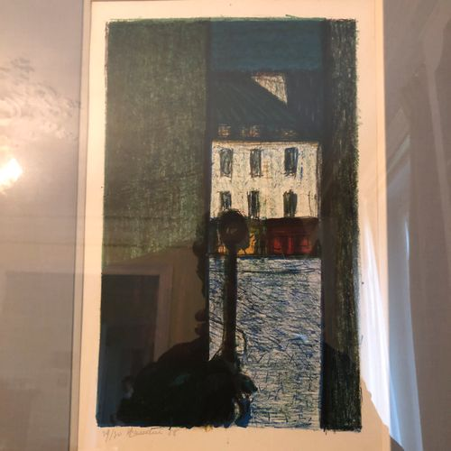 Henri LANDIER (Born in 1935)  The alley  Lithograph, signed and numbered in the …