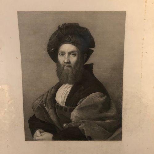 After Raphael  Bust portrait of Baldassare CASTIGLIONE  Engraving in black  23x3…