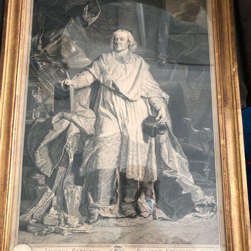 After Hyacinthe Rigaud  Portrait of Jacques BEGNINE BOSSUET  Black engraving, fr…