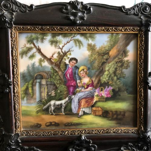French work from the 19th century  Galant scene, painting on porcelain, blackene…