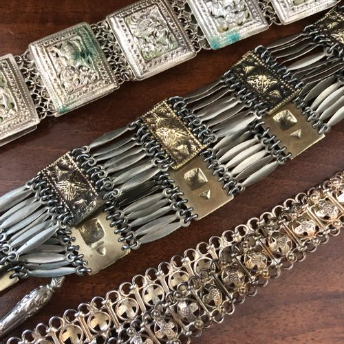 3 belts in silver plated metal, North African work