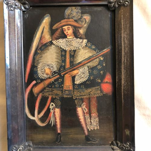 South American School  Archangel with Musket  oil on panel in silver metal frame…
