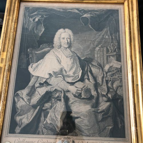 After Hyacinthe Rigaud  Portrait of Guillaume Cardinal Dubois  Black engraving, …