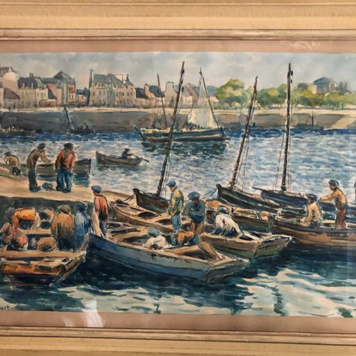 French school bearing a signature PAPART  Fishermen's boats in the port  Waterco…