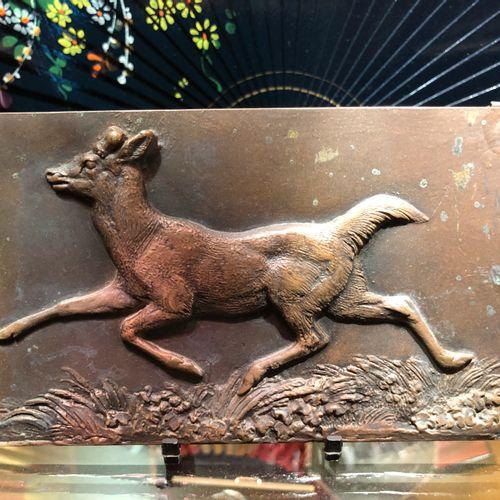 Antoine Louis Barye (1796 1875)  Running Deer  Bonze plate signed, 9x14,6cm