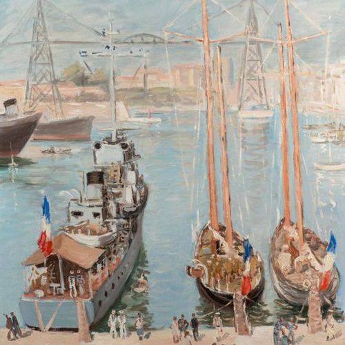 """André HAMBOURG """"Port of Marseille 1942"""" HST, 46x54cm Signed lower left and dated…"""