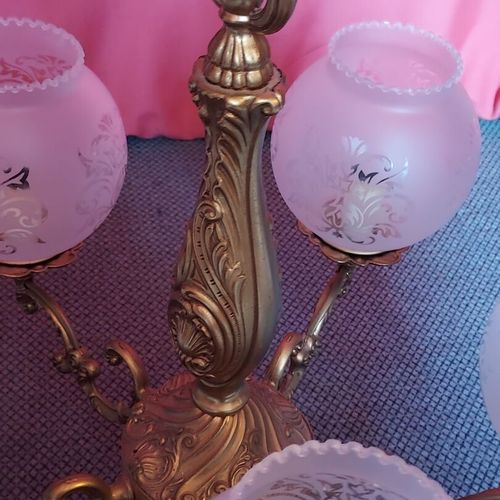 Luste en bronze? à 5 branches et ses 5 globes en verre poli à décor de fleurs