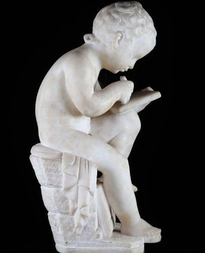 Child writer marble sculpture signed Canova on the 19th book Sizes: H430mm Weigh…