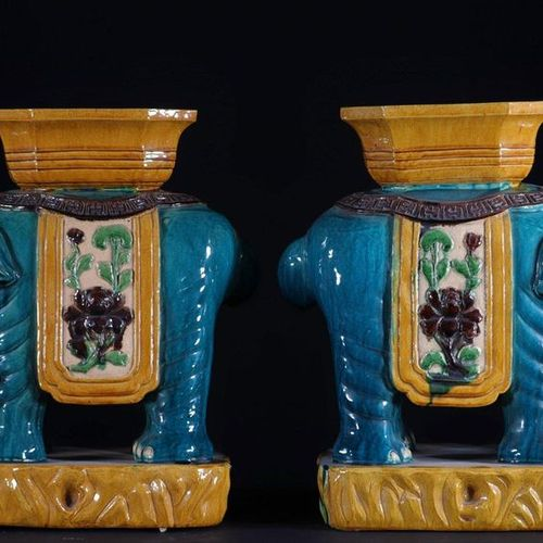 China pair of garden stools in the shape of elephants in glazed sandstone early …