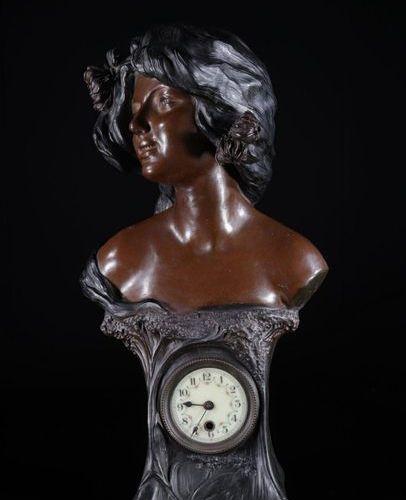 France Art Nouveau terracotta pendulum bust of a young woman 1900 Sizes: H600mm …
