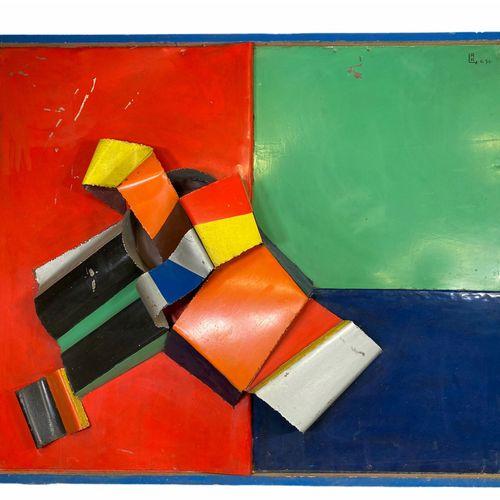 René Roche (1932 1992) très imposante sculpture sur cadre Métal (fer) peint René…