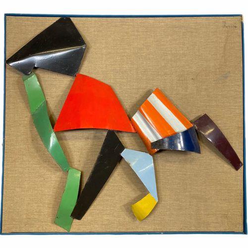 René Roche (1932 1992) sculpture sur cadre Métal (fer) peint signé et daté de 74…