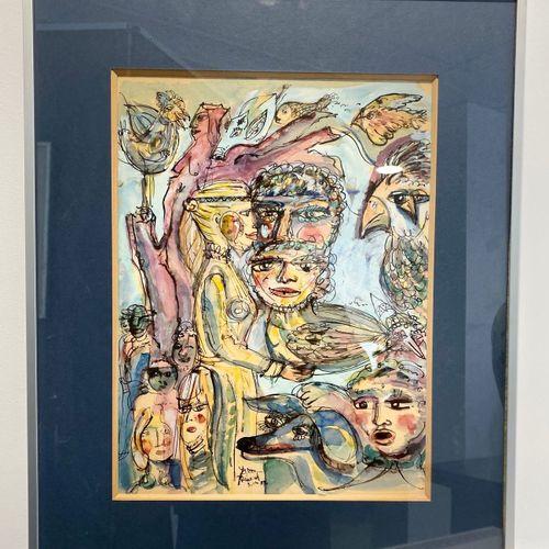 "Yvon REINARD Luxembourg aquarelle ""groupe de personnes et animaux"" Yvon REINARD …"