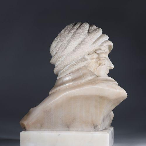 Buste de jeune femme en albâtre Art Déco signer Buste de jeune femme en albâtre …