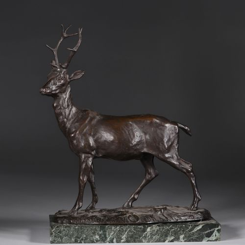 "Bronze ""le cerf"" signé Mène patine brune Bronze ""le cerf"" signé Mène patine brun…"