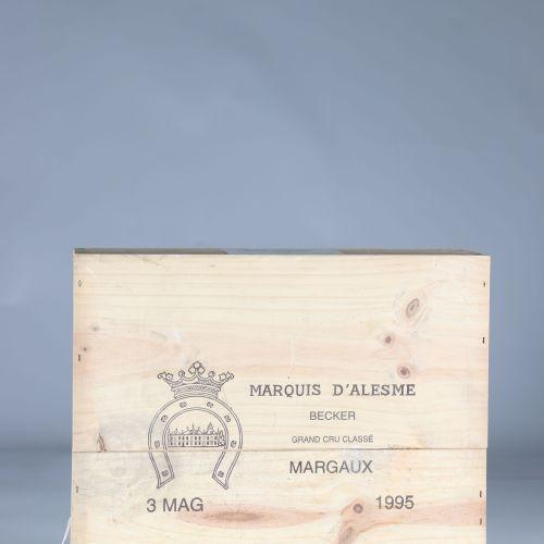 Caisse 3 magnums 150cl vin rouge chateau margaux marquis alesme becker 1995 cass…