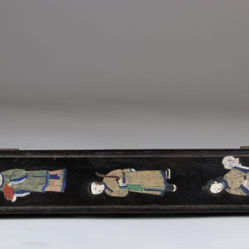 Chine boîte à éventail en bois peint de personnages 1900 Chine boîte à éventail …
