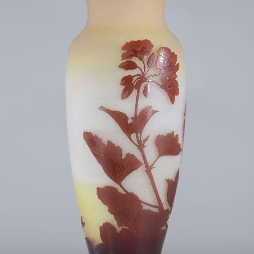 """Emile Gallé vase dégagé à l'acide""""fleurs de Manons"""" Emile Gallé vase dégagé à l'…"""