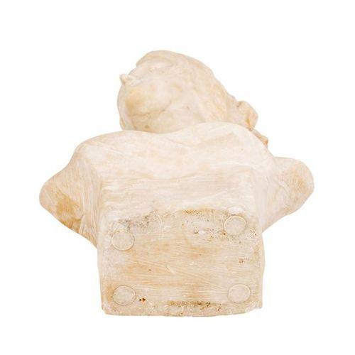 BÜSTE EINES JUNGEN MÄDCHENS BUST OF A YOUNG GIRL  About 1900, alabaster, inscrib…