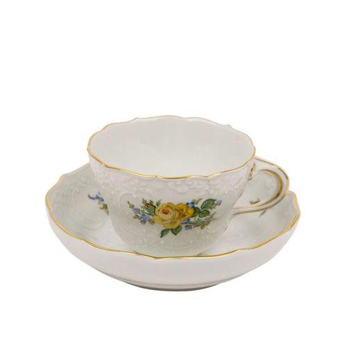 MEISSEN Kaffeeservice f. 6 Personen 'Gelbe Blume', 20. Jhd.. Service à café MEIS…