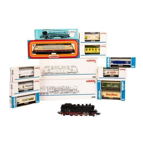 MÄRKLIN Konvolut von 4 Lokomotiven und 10 Güterwagen, Spur H 0, MÄRKLIN convolut…