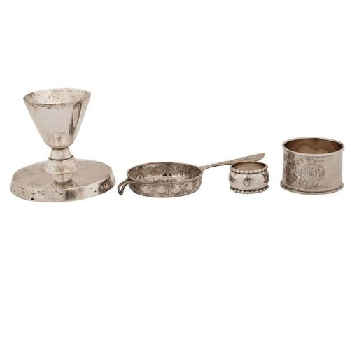 VIER KLEINTEILE SILBER FOUR SMALL PARTS SILVER Germany and Sweden, napkin ring w…