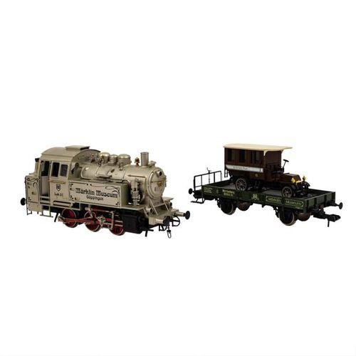 MÄRKLIN Tenderlok 85510 mit Museums Wagen 1991, Spur 1, MÄRKLIN tender locomotiv…