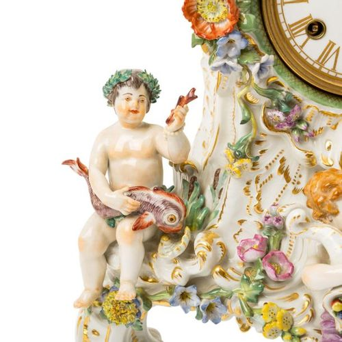 "MEISSEN Prunkpendule ""Die vier Elemente"", 20. Jh. MEISSEN Pendule ""The four elem…"