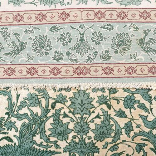 Serie von fünf feinen Orientteppichen mit Seide. IRAN, 20. Jh., je ca. 120x80 cm…