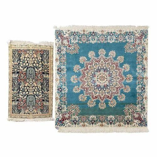 Zwei kleine Orientteppiche mit Seide. NAIN/PERSIEN, 20. Jh.: Two oriental rugs w…